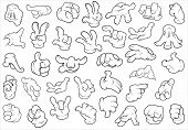 stock photo of fist  - Drawing Art of Various Cartoon Hands Gestures Vector Illustration - JPG