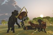 image of saber-toothed  - A pack of Saber Tooth Cats attack a small Woolly Mammoth while his herd comes to the rescue - JPG