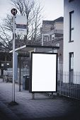 foto of bus-shelter  - Blank sign at bus stop for your own design - JPG