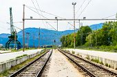 Two industrial railroad tracks
