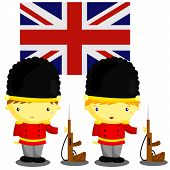 stock photo of guardsmen  - two British soldier and British flag as background - JPG