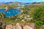 stock photo of west indies  - Antigua Bay view from Shirely Heights Antigua West Indies Caribbean - JPG