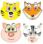 cute cartoon animal head icons