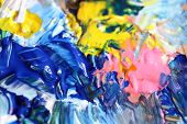 stock photo of expressionism  - Closeup background of the artist palette  - JPG