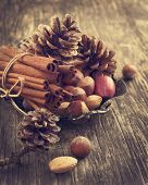 stock photo of pine nut  - Pine Cone, Cinnamon And Nuts For Christmas Decoration