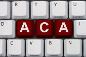 stock photo of mandate  - Computer keyboard keys with word ACA Affordable Care Act - JPG