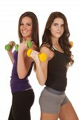 image of spandex  - Two women are holding up weights and smiling - JPG