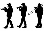 Vector drawing of a man walking with a trombone. Property release is attached to the file