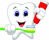 pic of molar tooth  - Vector illustration of Tooth cartoon putting tooth paste on her toothbrush - JPG