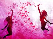 foto of rap-girl  - Background with jumping girls - JPG