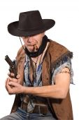 pic of wild west  - cowboy with revolver in his hand on white background - JPG