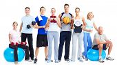 stock photo of barbell  - Group of fitness people - JPG