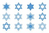 foto of passover  - Star of David isolated on white background - JPG