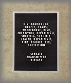 image of hpv  - STD concept in plastic letters on very old menu board vintage look - JPG