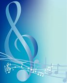 stock photo of musical note  - musical background notes and swirls on blue - JPG