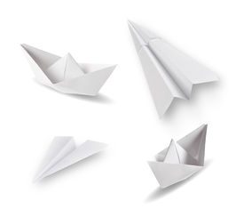 foto of float-plane  - set of paper ships and paper planes on white - JPG