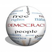 stock photo of bill-of-rights  - Democracy 3D sphere Word Cloud Concept with great terms such as people rights vote and more - JPG