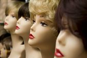 foto of wig  - mannequin head in wigs - JPG
