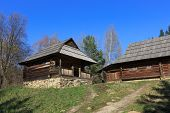 Traditional carpathian wooden house in open-air museum Pirogovo. Kiev, Ukraine