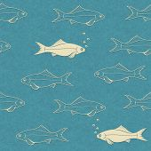 seamless pattern of swimming fish with bubbles. Rasterized illustration.