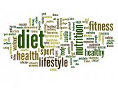 High resolution concept or conceptual abstract diet and health word cloud or wordcloud on white back