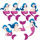 stock photo of fairy tail  - Mermaid in 7 different poses - JPG