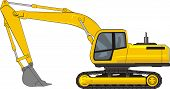 picture of power-shovel  - yellow consruction excavator on a caterpiller base - JPG