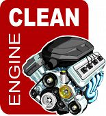 stock photo of decontamination  - sign of the washer of the car engines - JPG