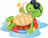 pic of terrapin turtle  - Vector illustration of Cute turtle cartoon on inflatable round - JPG