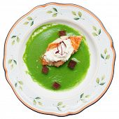 Seabass with herbs and spinach puree, clipping path included