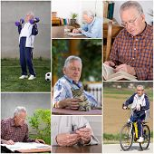 image of retirement age  - Collage of old man activities in retirement - JPG