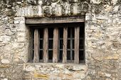 picture of fortified wall  - A Fortified Window in the Historic Alamo Wall in San Antonio TX - JPG