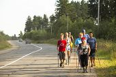 NIKOLSKY, RUSSIA - JULY 14, 2013: Unidentified participants during of local competitions in Nordic w