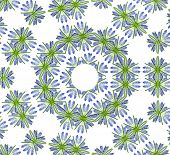Abstract Floral Pattern of Blue Spring flowers Muscari  isolated on white background