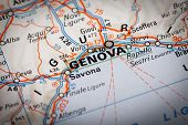 picture of genova  - Map Photography: Genova city on a road map