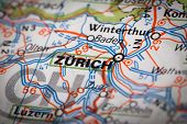 stock photo of zurich  - Map Photography: Zurich city on a road map