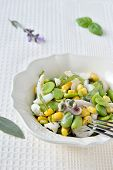 stock photo of devilfish  - Cuttlefish salad with fresh fava beans and corn with fresh aromatic herbs in a salad bowl.