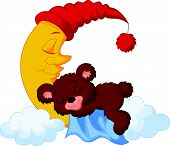 stock photo of bear-cub  - Vector illustration of The teddy bear cartoon sleep on the moon - JPG