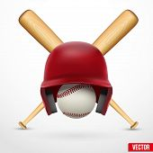 picture of baseball bat  - Vector illustration of realistic Symbol of a baseball - JPG