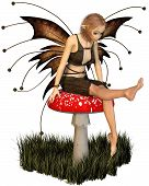 stock photo of faerie  - Pretty fairy with brown wings sitting on a toadstool - JPG