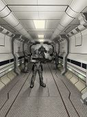 pic of trooper  - Space marine troopers and battle robot guarding a science fiction corridor - JPG
