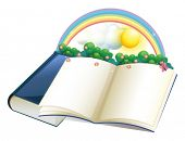 Illustration of a storybook with a rainbow and plants on a white background