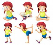 pic of storybook  - Illustration of a young lady doing different activities on a white background - JPG