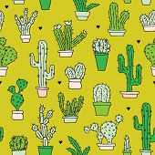 Seamless retro cactus plants for the home illustration background pattern in vector