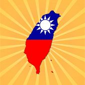 Taiwan map flag on sunburst vector illustration