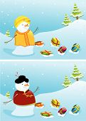 image of christmas cards  - Christmas landscape with chinese and indian snowmen - JPG