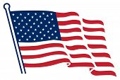 picture of waving american flag  - American flag background fully editable vector illustration - JPG