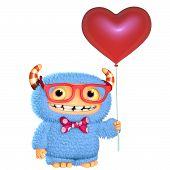 image of bigfoot  - 3d cartoon cute blue love monster with balloon - JPG