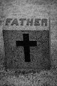 picture of headstones  - Isolated Father Headstone with Cross in Black and White - JPG