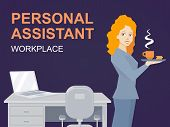 picture of personal assistant  - Vector illustration of woman portrait personal assistant with coffee in hand stands on office background - JPG